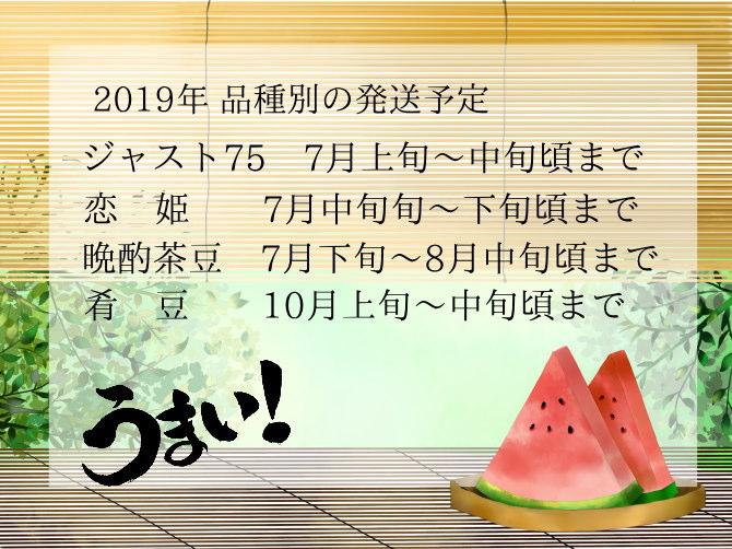 2019年の収穫予定枝豆の発送時期について