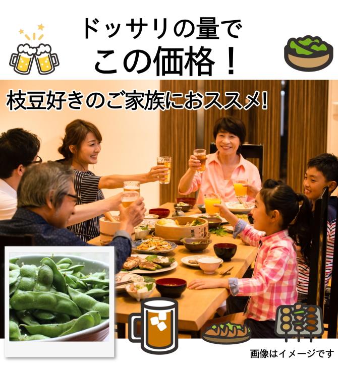 ドッサリの量がこの価格!枝豆好きのご家族におススメ!