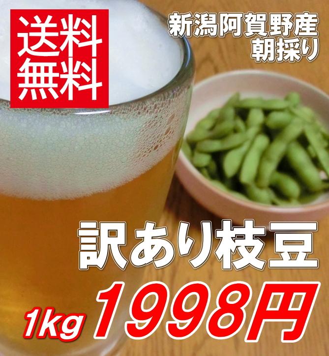 新潟県阿賀野産朝採り枝豆、1kg1998円で送料無料!